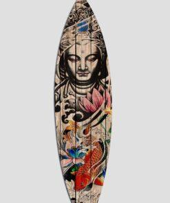 Tabla de surf decorativa buda, pertenece a la colección tattoo de la corriente budista, china.Decora tu ambiente con buen rollo.