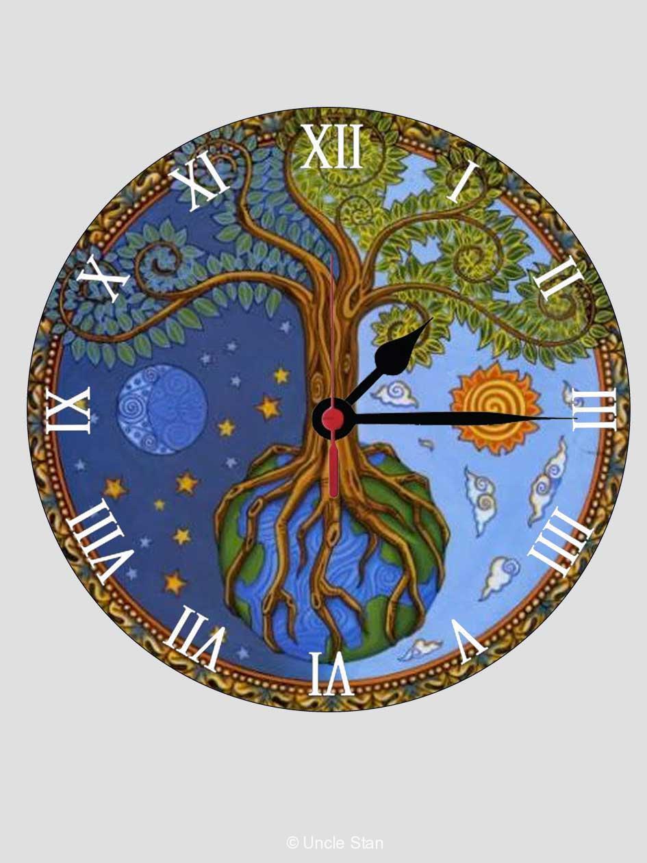 8b656034516f Reloj de pared Árbol de la vida con el sol y la luna